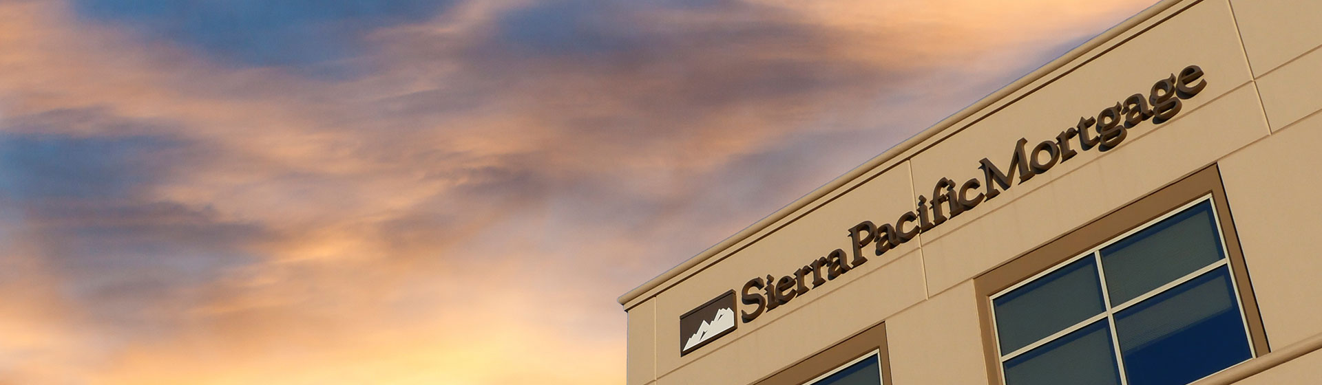 The Sierra Pacific Mortgage sign on the building.